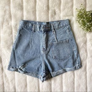 Pants - High Rise Medium Washed Cuffed Denim Jeans